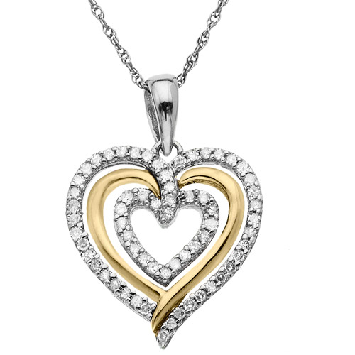 Duet 14kt Yellow Gold and Sterling Silver 1/5 Carat Diamond Heart Pendant, 18""