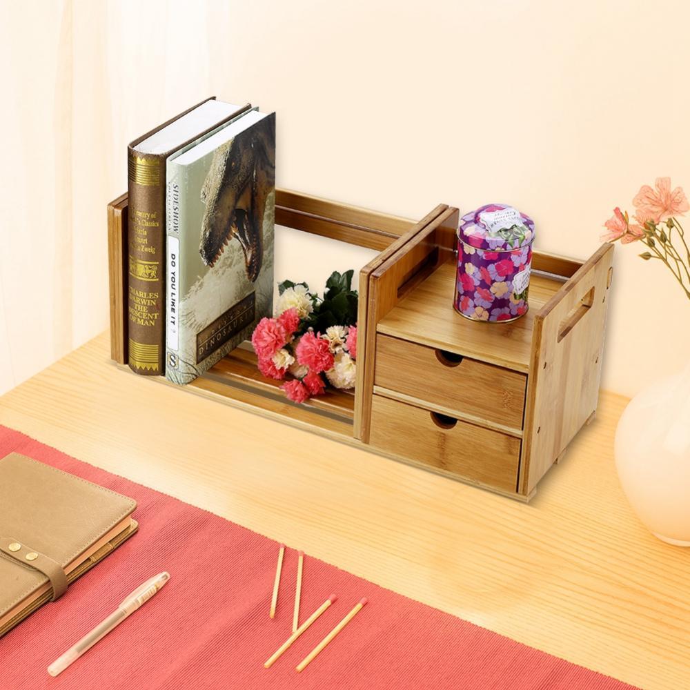 Knifun Tabletop Book Rack,Bamboo Wood Extendable Desk Tabletop Book Rack Bookshelves Bookcase Organizer with 2 Drawer