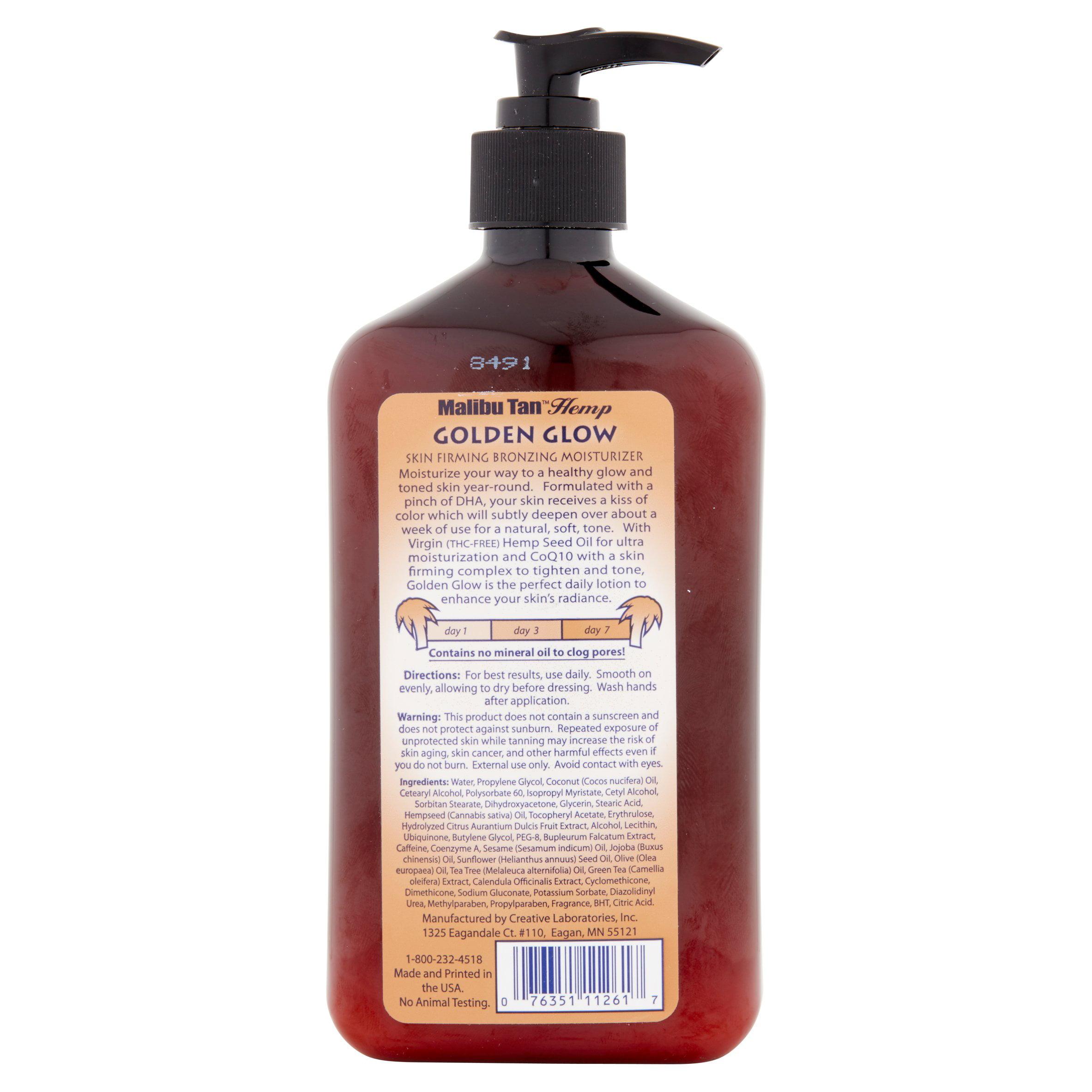 Malibu Tan Hemp Golden Glow Skin Firming Bronzing Moisturizer, 18 Fl Oz   Walmart