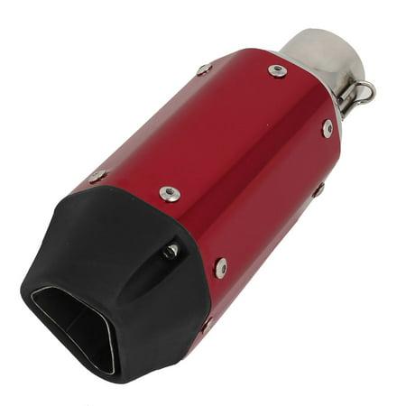 Motorcycle 250mm Length 48mm Inlet Diameter Hexagonal Slip-On Muffler Red