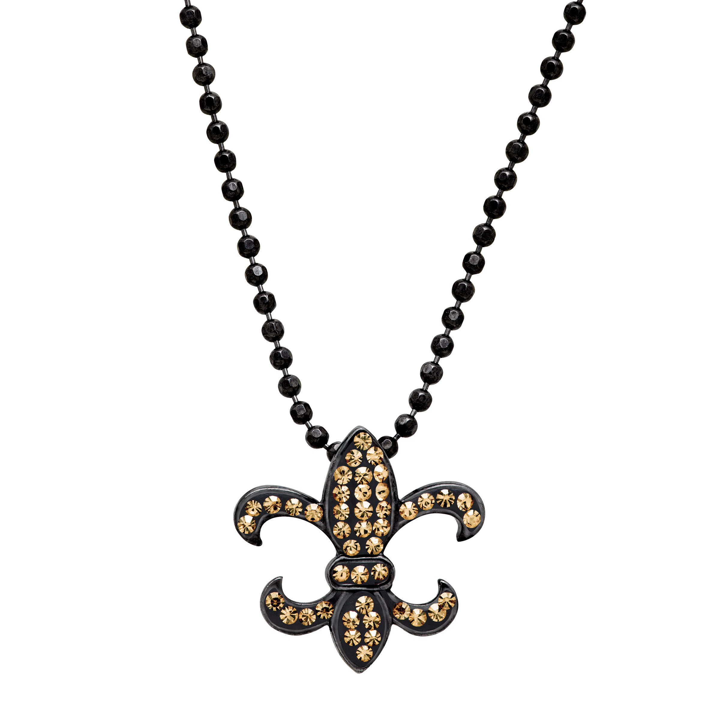 Luminesse Fleur-De-Lis Pendant Necklace with Swarovski Crystals in Black Rhodium-Plated Sterling Silver