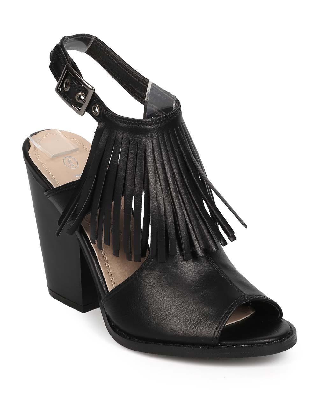 Nature Breeze EB10 Women Leatherette Peep Toe Fringe Block Heel Slingback Mule