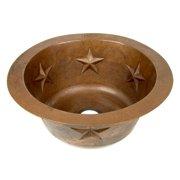 D'Vontz Copper 16'' x 16'' Round Texas Star Embossed Bar Sink