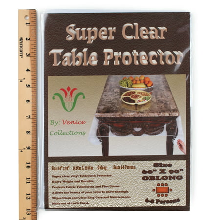 Super Clear Extra Heavy Duty, Durable 100% Vinyl Tablecloth protector & Table cover Size 60 X 90 Inches (Table Rail Vinyl)
