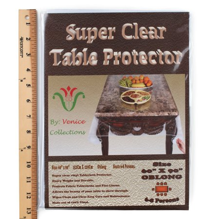 Super Clear Extra Heavy Duty, Durable 100% Vinyl Tablecloth protector & Table cover Size 60 X 90 Inches Oblong