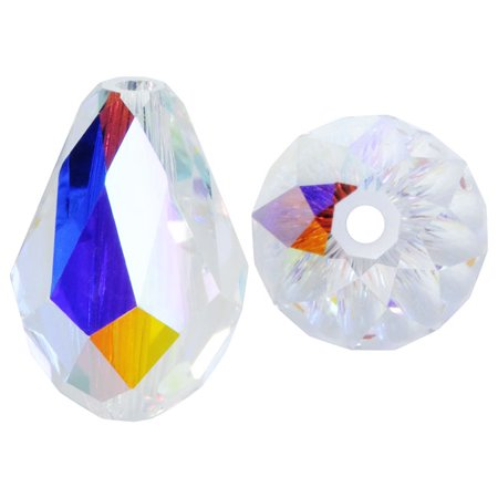 Swarovski Crystal Circle Drop (Swarovski Crystal, #5500 Drop Beads 9mm, 4 Pieces, Crystal AB)