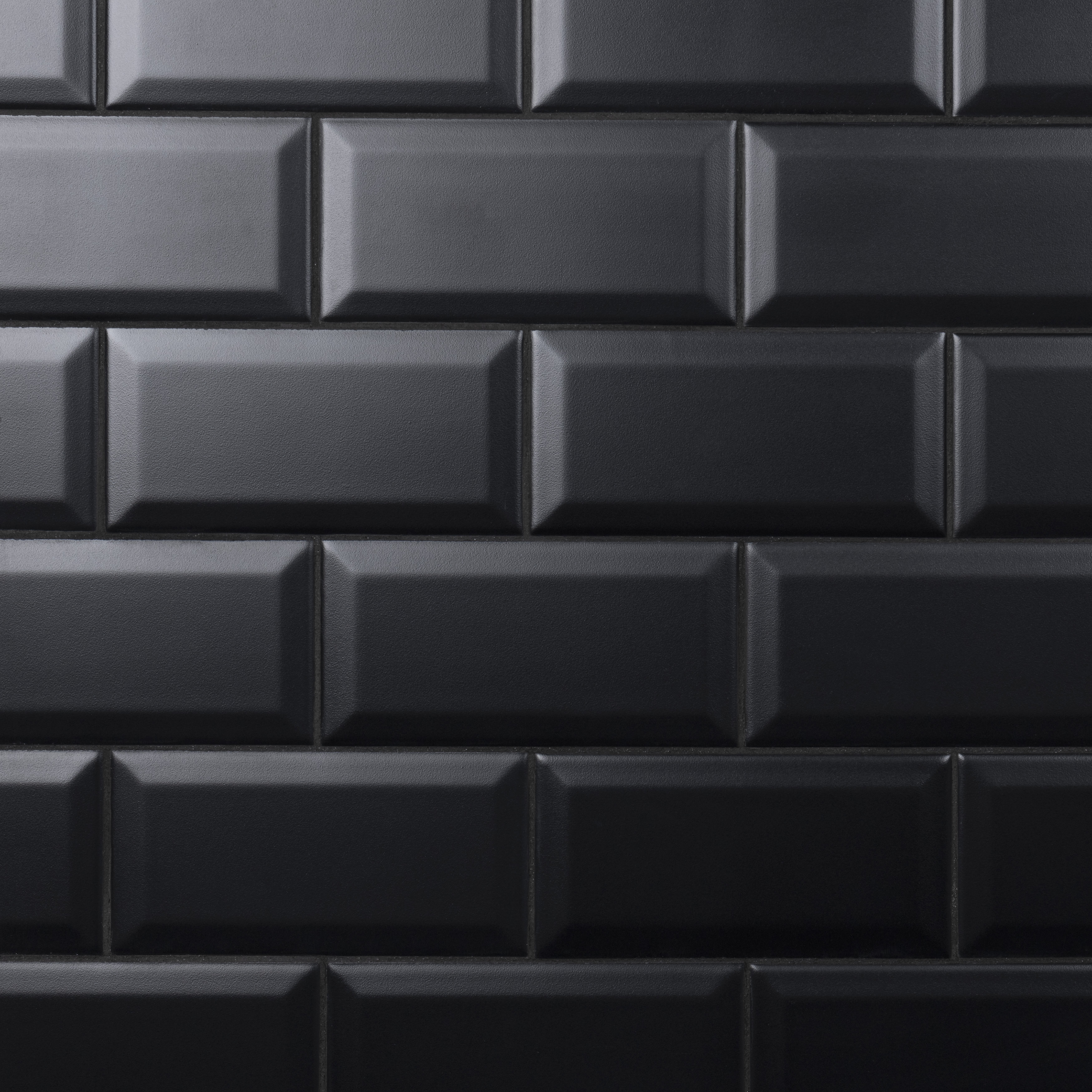 somertile crown heights beveled matte 3 x6 black ceramic wall tile 6 03 sq ft case walmart com