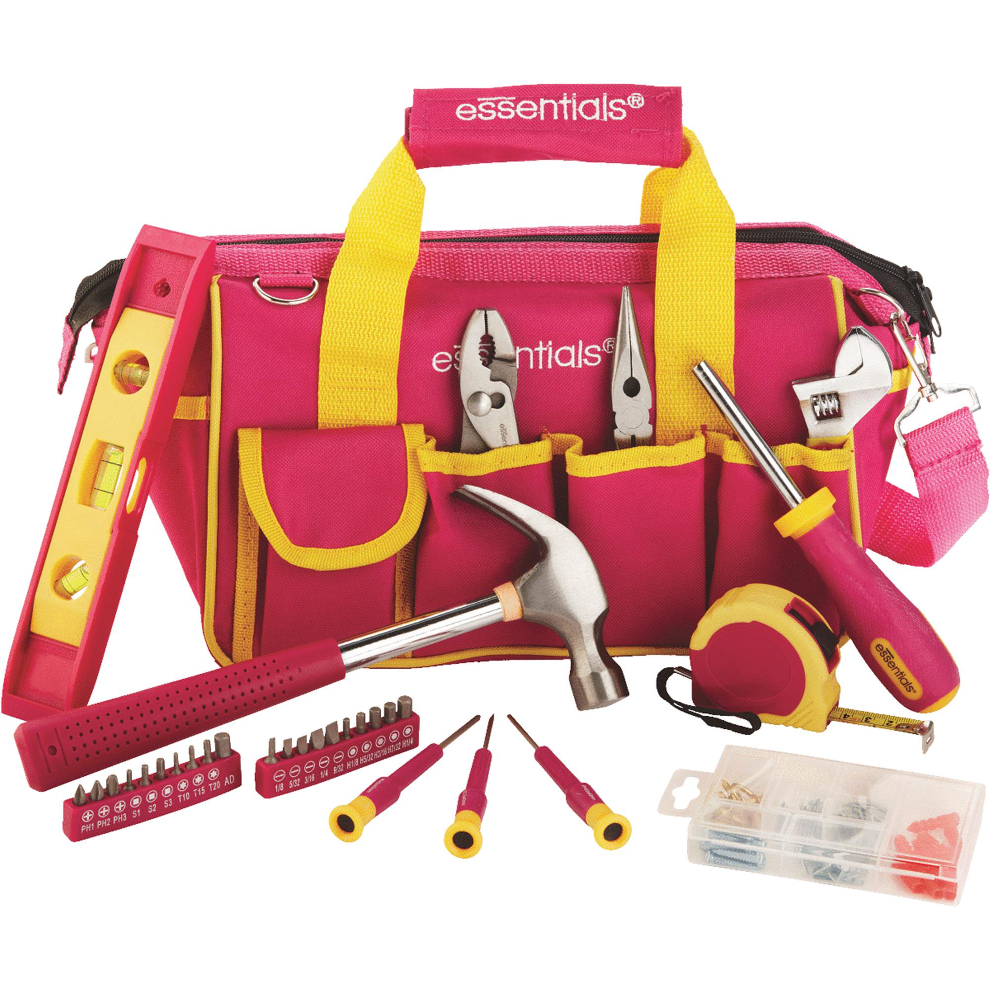 Essentials 32-Piece Tool Set, Pink