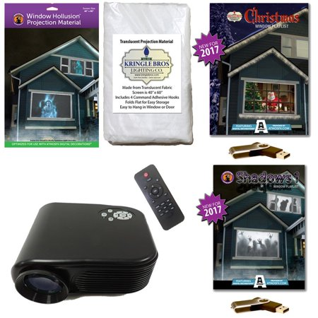 AtmosFearFx Christmas & Halloween Digital Decoration Kit includes 800 x 480 Projector, Hollusion + Kringle Bros Projection Screens, Christmas & Shadows Compilation Videos on USB. - Halloween Shadow Projection