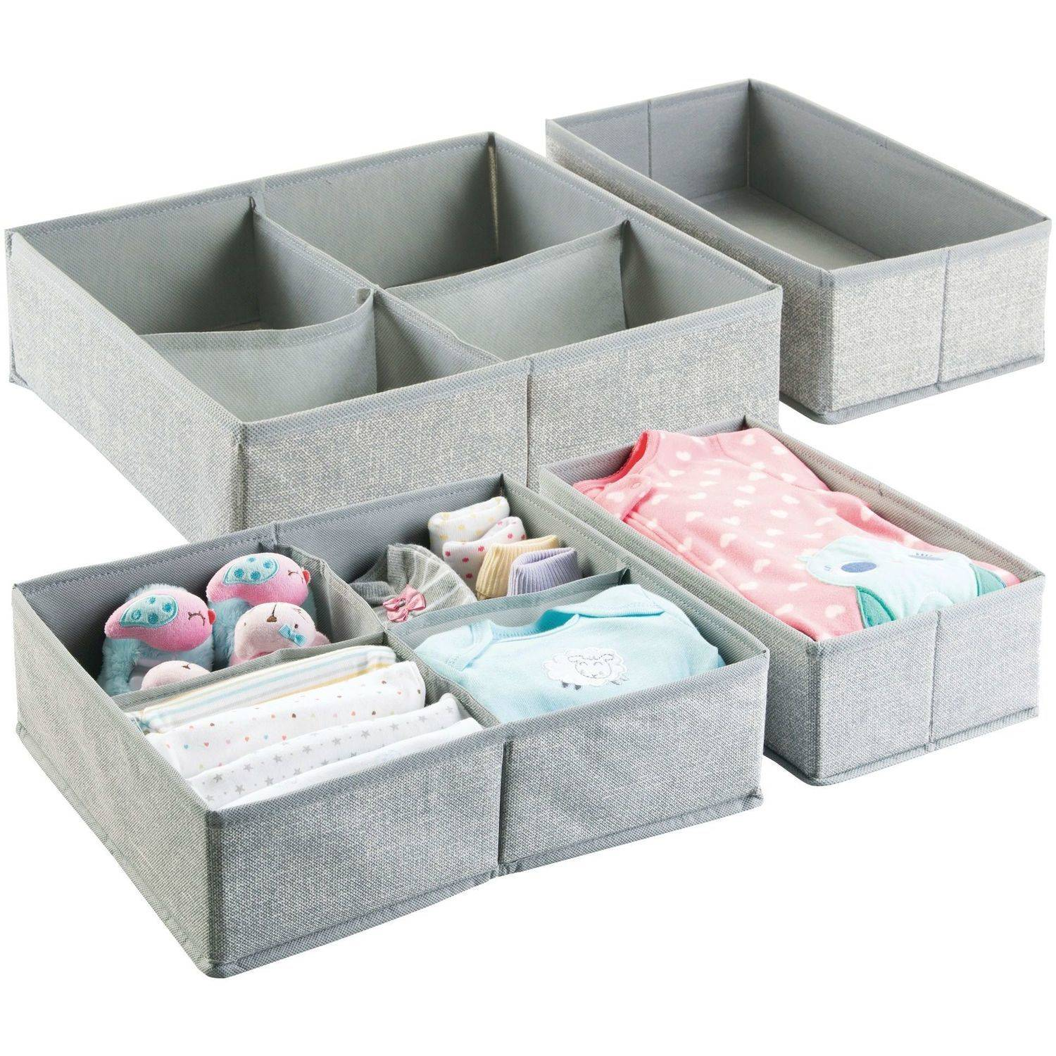 InterDesign Aldo Drawer Organizer, 5S (Set of 2), Large, Grey