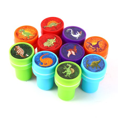 10 PCs Assorted Dinosaur Stamps Kids Party Favors Event Supplies for Birthday Party Gift Toys Boy Girl Pinata Fillers - Halloween Birthday Party Games For Kids