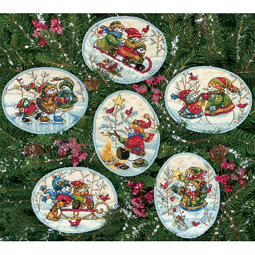 "Dimensions Gold Collection ""Playful Snowman"" Ornaments Counted Cross Stitch, Up To 4-1/2"", Set of 6"
