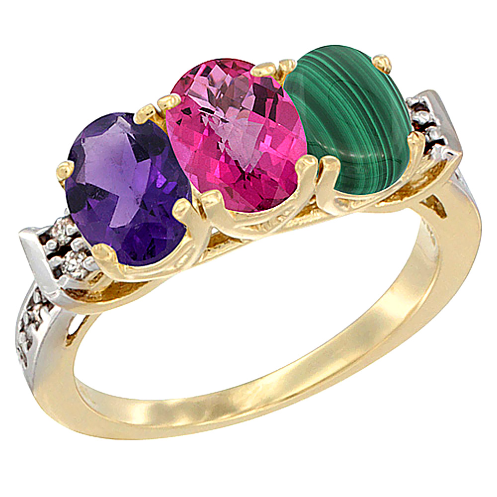 10K Yellow Gold Natural Amethyst, Pink Topaz & Malachite Ring 3-Stone Oval 7x5 mm Diamond Accent, sizes 5 10 by WorldJewels