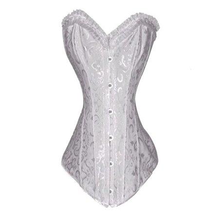 6453c38b24a73 MUKA - Muka Women s Boned Plus Size Overbust   Underbust Corset Bustier  Waist Cincher-White-XXL - Walmart.com
