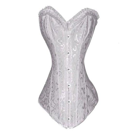 74e122085d6 MUKA - Muka Women s Boned Plus Size Overbust   Underbust Corset Bustier  Waist Cincher-white satin-XXL - Walmart.com