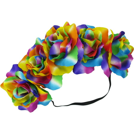 Multi-colored Flower Headband Halloween Costume Accessory - Heavy Metal Band Halloween