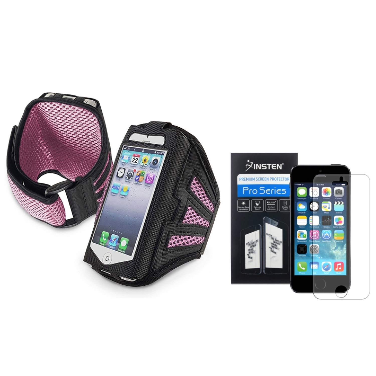 Insten Black/Pink Sports Running Armband Gym Case for iPhone 5 5G 5s + Anti-Glare Screen FIlm