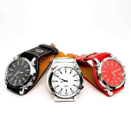 Big Time Over-sized Wrist Watch with Wide Leather Band - 3 Colors to Choose Red on Red (Big Dirty Band)