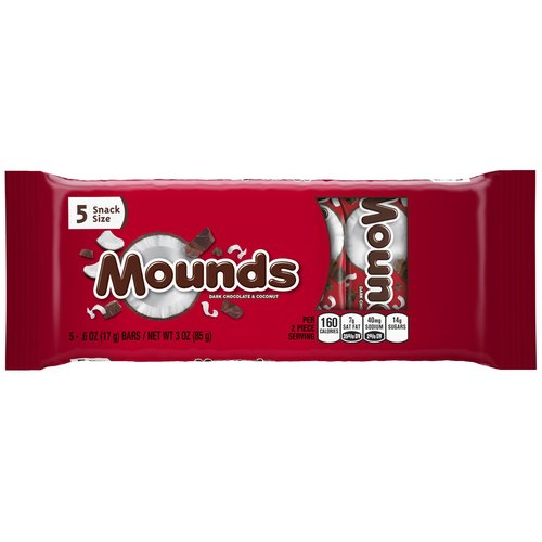 Mounds Dark Chocolate and Coconut, 0.6 oz, 5 ct