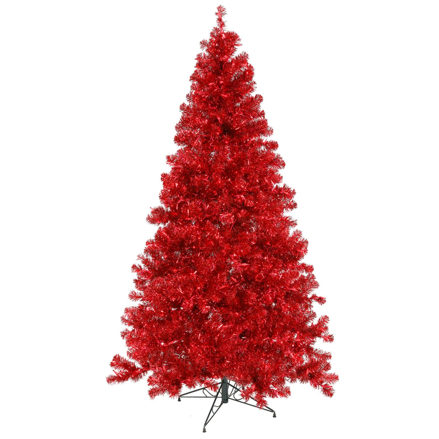 Vickerman 4' x 31 Pre - Lit Sparkling Red Artificial Christmas Tree  -  Red Lights