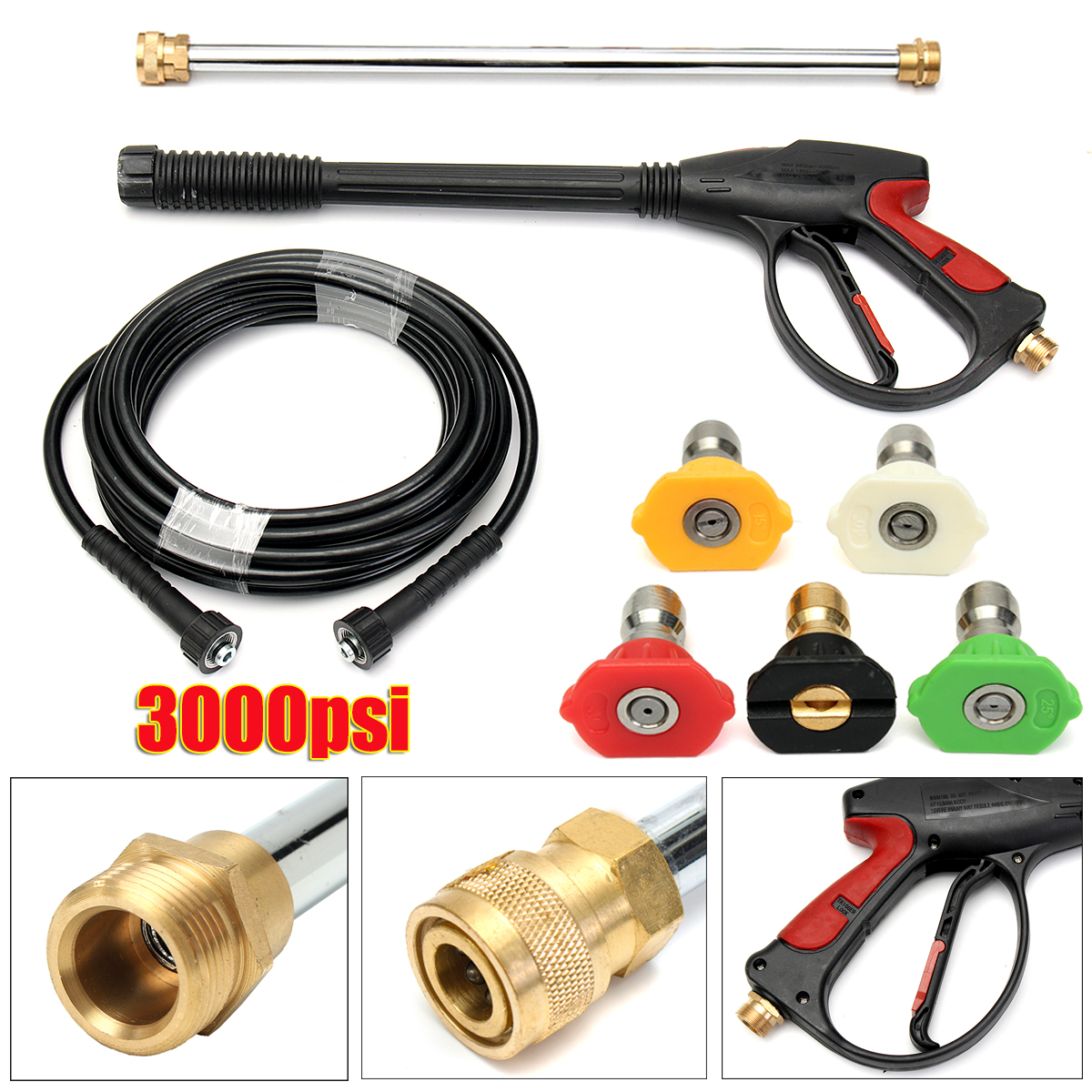 Pressure Washer Accessories Kit Metal Extension Wand with Spray Nozzle Tips