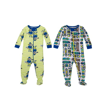 Little Star Organic 100% Organic Cotton Footed Stretchies Pajamas, 2pk (Baby Boys & Toddler Boys)