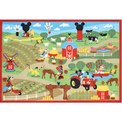Disney Mickey Mouse Farm Game Nylon Pile Rug Multi