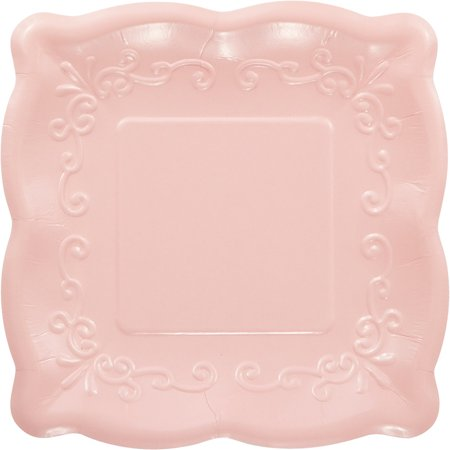 Pack of 48 Pink Linen Premium Disposable Paper Square Party Lunch Plates 7.25
