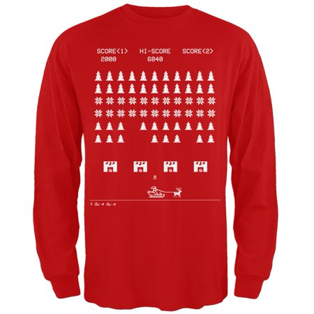 61a900bde8ac Ugly Christmas Sweater - Classic Arcade Game Red Long Sleeve T-Shirt -  Walmart.com