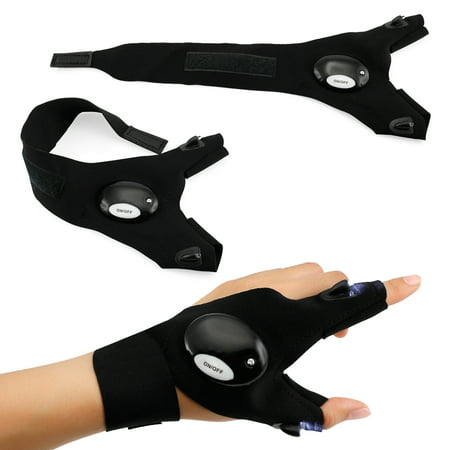 Outdoor Cycling Magic Strap Rescue Sporting Gloves 2 LED Flashlight Torch HANDY MECHANIC TOOL -Left Hand - Level Glove Flash
