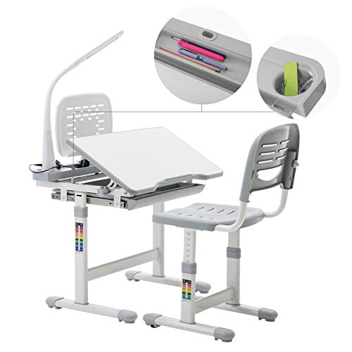 Black N//Y Children Desk Kids Desk and Chair Set,Height Adjustable Children Study Table School Students Writing Desk with Table Cabinet,Bookstand for Boys /& Girls