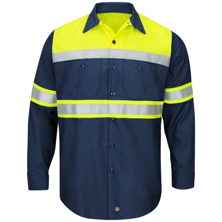 Sleeve Ripstop Woven Shirt (Men's Long Sleeve Hi-Visibility Colorblock Ripstop Work Shirt - Type O, Class 1)