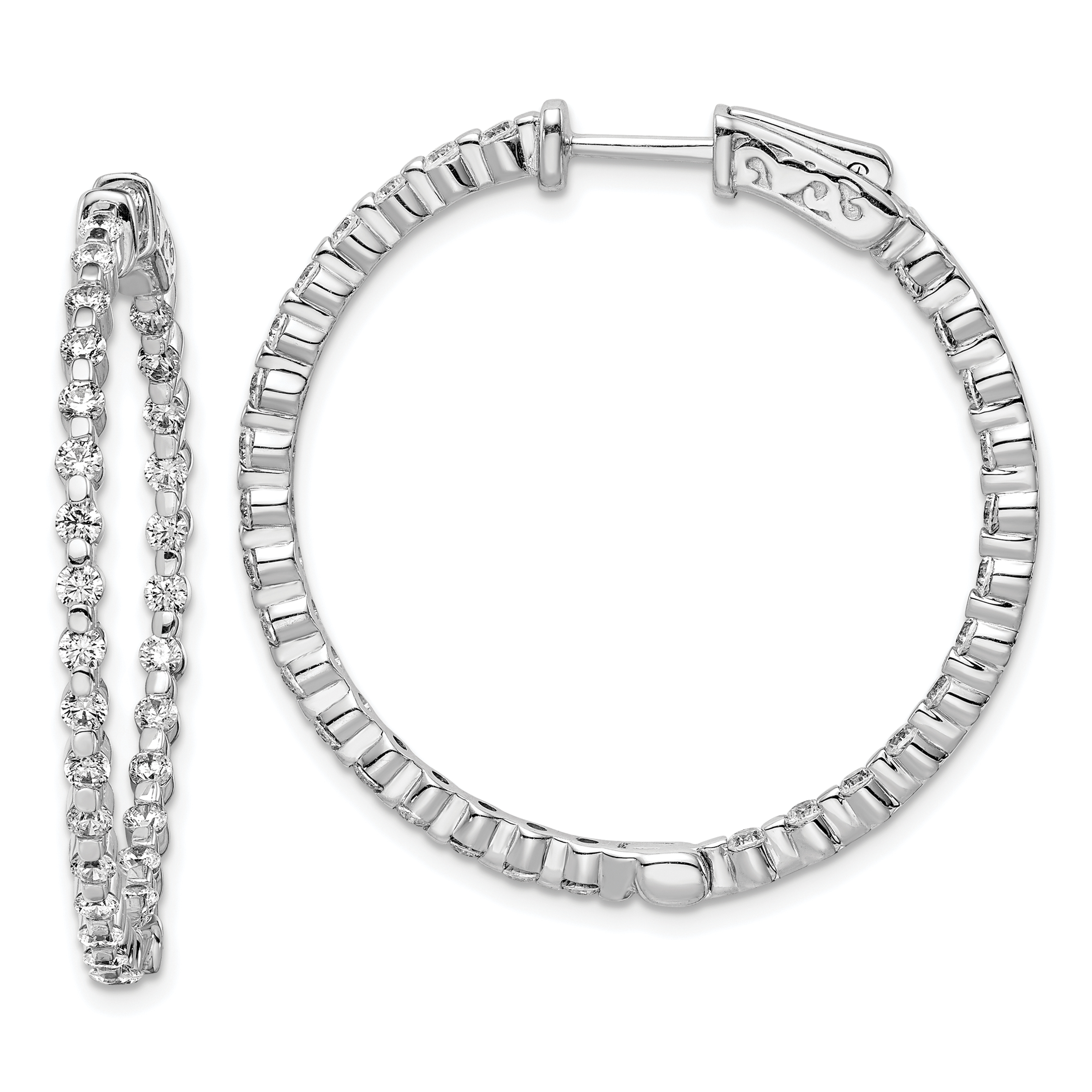 925 Sterling Silver Cubic Zirconia Cz In Out Hinged Hoop Earrings Ear Hoops Set Fine Jewelry Gifts For Women For Her - image 4 of 4