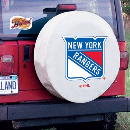New York Tire Cover with Rangers Logo on White Vinyl Size: J - 27 x 8 Inch New York Jets Tire Cover