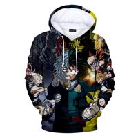 Fancyleo Men's My Hero Academia3D Digital Color Print Casual Hoodie Sweater Print Sports Pullover Jacket Top