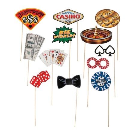 - Fun Express - Casino Photo Stick Props for Party - Apparel Accessories - Costume Accessories - Costume Props - Party - 12 Pieces