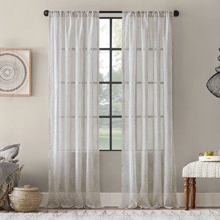 - Archaeo Global Block Textured Cotton Blend Sheer Curtain