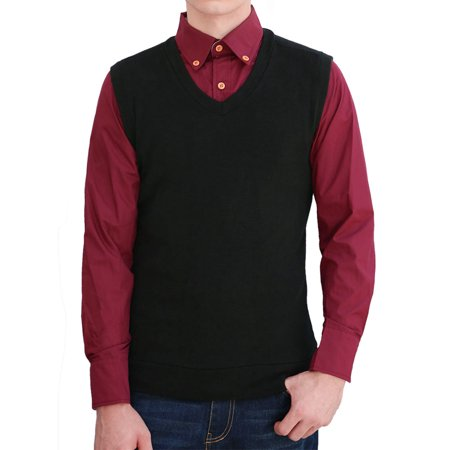 Men V Neck Sleeveless Stretchy Slipover Slim Fit Knit Vests Black L - image 1 de 1