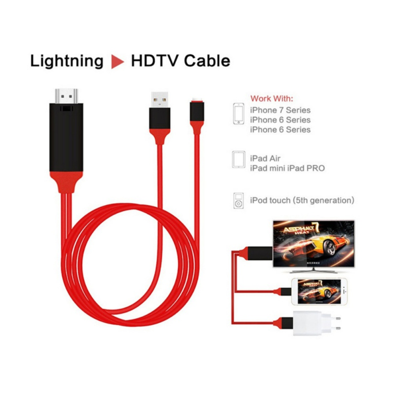 Lightning to HDMI TV AV Adapter Cable HDMI AV Adapter Cable Cord 1080P 2M 8 Pin for iPad/iPhoneX/8/7/6Plus/6S to HD TV