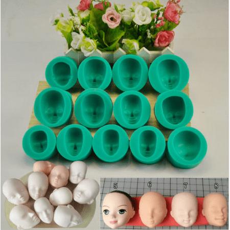 Doll Cake Decorating (Meigar 13Pcs Silicone DIY Dolls Face Heads Mold Sugarcraft Cake Decorating Fondant Set Graduation Cake Decorating)