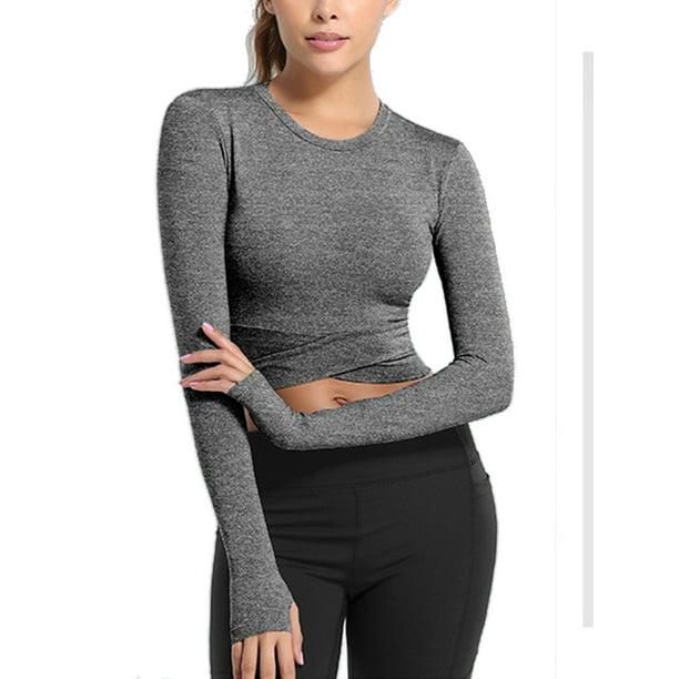 Amavo Avamo Tummy Cross Sports Shirts For Women Moisture Wicking Long Sleeve Sexy Crop Top Shirts Active Wear Workout Shirts Gym Shirts For Girls Women Stretch Yoga Shirts Walmart Com
