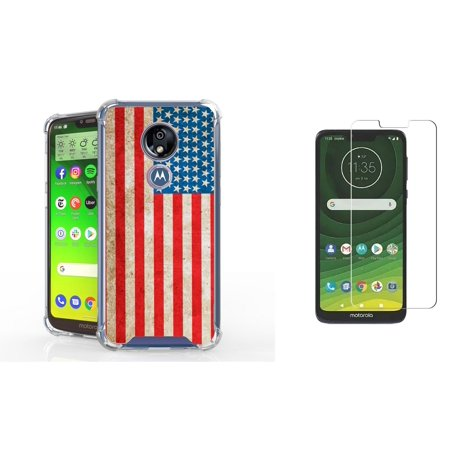 Beyond Cell AquaFlex Designed for Moto G7 Play Full Body Coverage Case with Tempered Glass Screen Protector and Atom Cloth - Vintage American