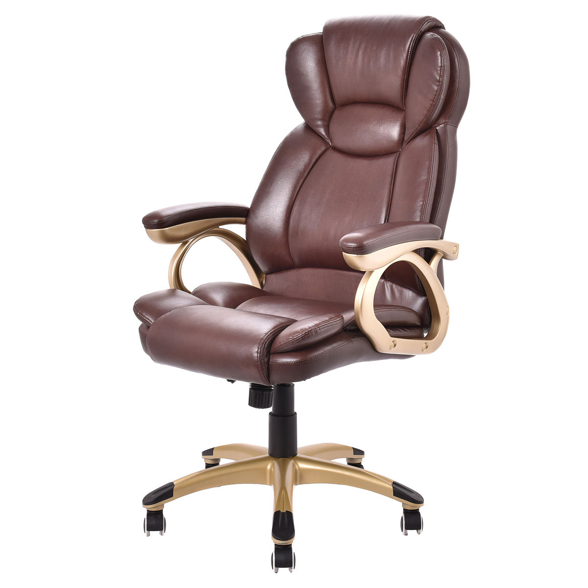 Costway Ergonomic Office Chair PU Leather High Back Executive Computer Desk  Task Brown