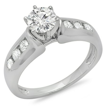 Dazzlingrock Collection 1.00 Carat (ctw) 14k Round Cut Diamond Ladies Bridal Solitaire With Accents Engagement Ring 1 CT, White Gold, Size 8