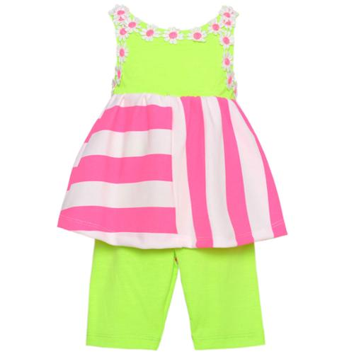 Rare Editions Baby Girls Lime Pink Stripe Flower 2 Pc Pants Outfit 12-24M