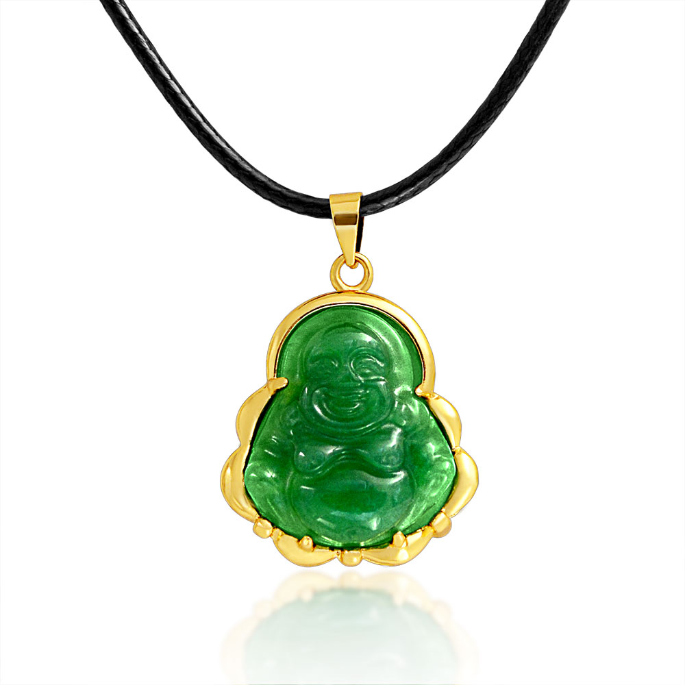 Bling Jewelry Synthetic Jade Laughing Buddha Pendant Necklace Gold Plated
