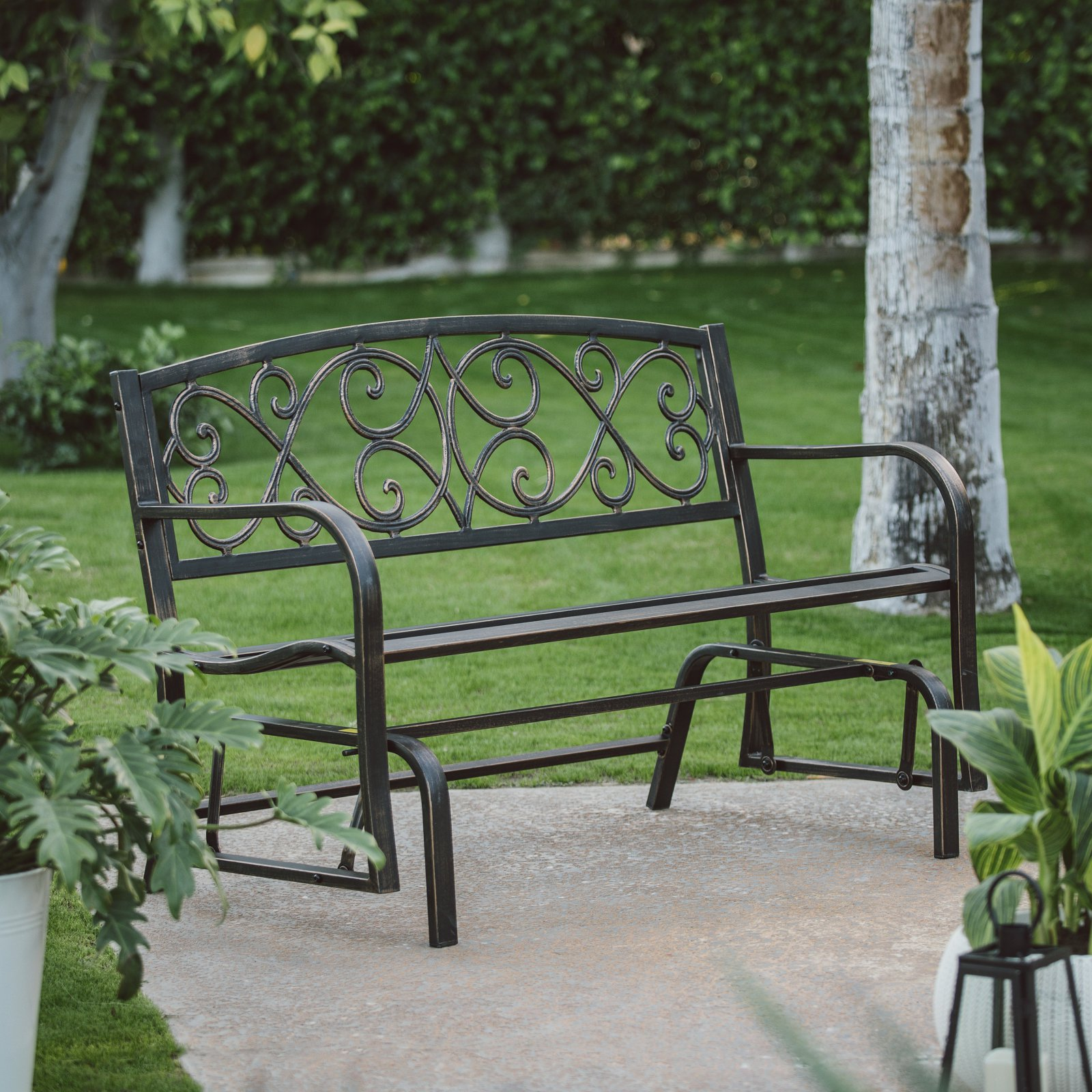 Coral Coast Scroll Back 4 ft. Metal Glider Bench