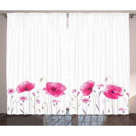 Lake House Decor Curtains 2 Panels Set, Mass of Flower Glade with Poppy Petals Summer Garden Field Elements Artwork, Window Drapes for Living Room Bedroom, 108W X 84L Inches, Pink, by Ambesonne