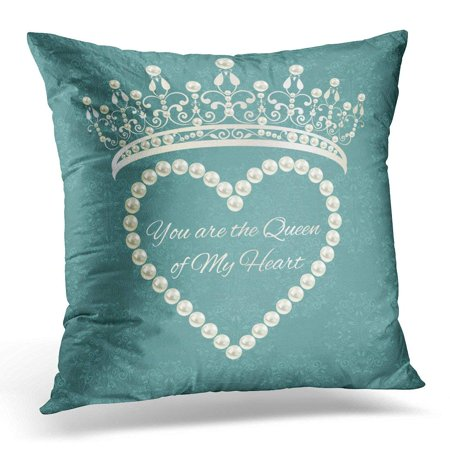 Abstract Damask Pearl - USART Royal are Layered Separately in Easy Love Valentine Damask Grey Blue Color with Tiara Heart of Pearls Pillow Case Pillow Cover 20x20 inch