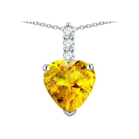 - Star K 8mm Heart Shaped Genuine Citrine Three Stone Pendant Necklace in 14 kt White Gold